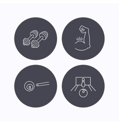 Billiards bowling and fitness sport icons vector