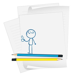 A paper with a sketch of a boy holding a cup of vector image vector image
