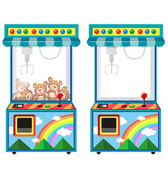 Arcade game machine with dolls vector
