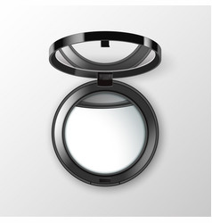 Black round pocket cosmetic make up small mirror vector