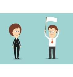 Businessman with white flag conceded defeat vector image