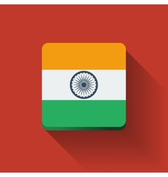 Button with flag of India vector image vector image