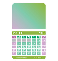 calendar grid march vector image vector image