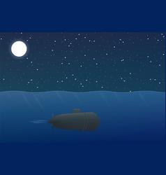 Cartoon submarine floats underwater at night vector