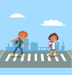 Cheerful kids with red rucksacks crossing road vector