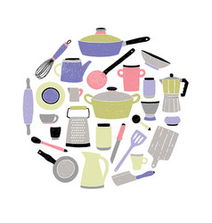 colored kitchenware set on white background round vector image