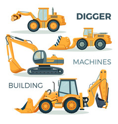 Digger and machines for building isolated cartoon vector