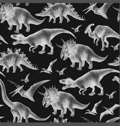 Dinosaurs in stippling technique vector