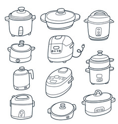 Electric cooker set vector