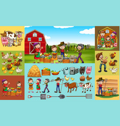 farmers and animals on the farm vector image