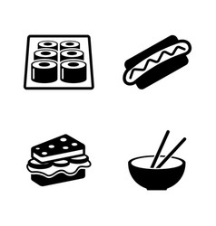 fast food simple related icons vector image vector image