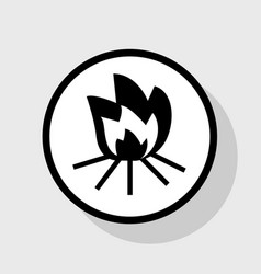 Fire sign flat black icon in white circle vector