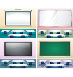 Four scenes of classrooms vector