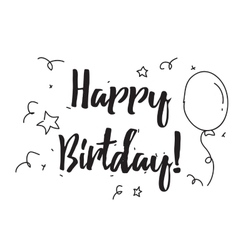 Happy birthday greeting card with calligraphy vector