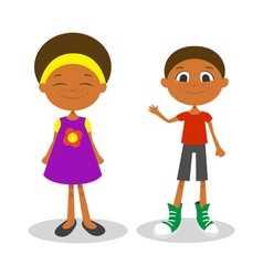 happy young afro american boy and girl with vector image vector image