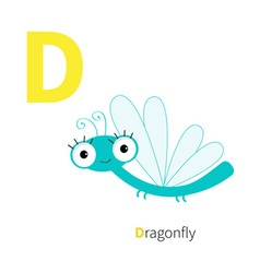 Letter D Dragonfly Zoo alphabet Insect English abc vector image vector image