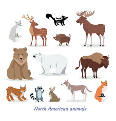 north american animals cartoon flat icons set vector image vector image