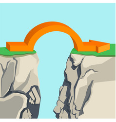 Orange arch-shaped arrow spanning across rocky vector