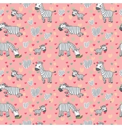 pattern with cute zebras on a pink vector image vector image