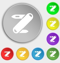 Pocket knife icon sign symbol on eight flat vector