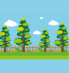scene with many trees in the park vector image