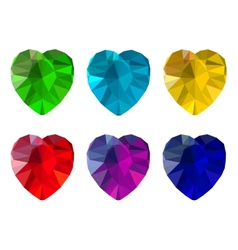 Set of heart-shaped gemstones vector image