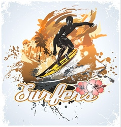 surfing coconut vector image