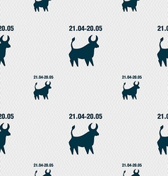 Taurus sign Seamless pattern with geometric vector image vector image