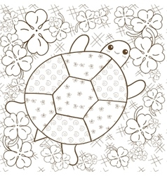 Turtle heaven adult coloring book page cute vector