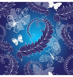 Floral dark blue seamless spring pattern vector image