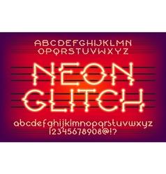 Neon glitch typeface 01 vector