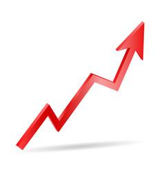 3d red arrow grow symbol risk vector image