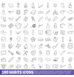 100 habits icons set outline style vector