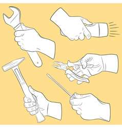 Hand tools in use vector