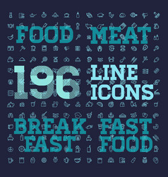 196 food and drink thin icon set vector image