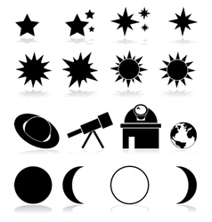 Astronomy icons vector