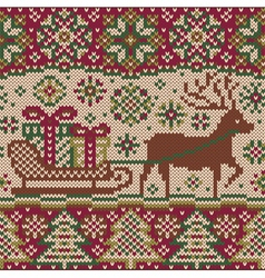 New year knitted pattern with reindeer vector