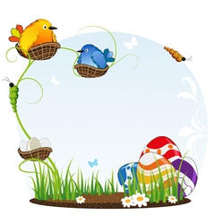 Birds in nests and easter eggs vector