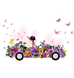 Woman on vintage flower car vector