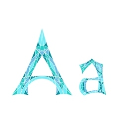 Low poly letter a in blue mosaic polygon vector