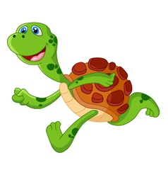 Cute turtle cartoon run vector