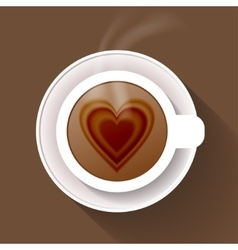 Cup of coffee isolated on brown background vector