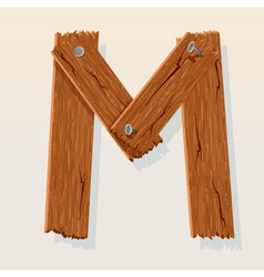Wooden letter m vector