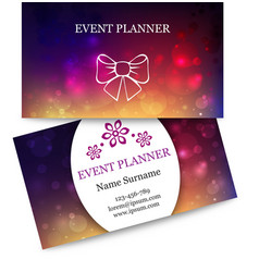 Template colorful business cards for event planner vector