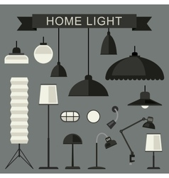 Home lamps icons vector