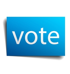 Vote blue paper sign isolated on white vector