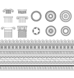 Greek meander borders frames and columns set vector