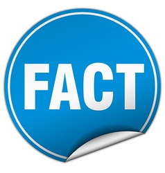 Fact round blue sticker isolated on white vector