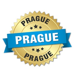 Prague round golden badge with blue ribbon vector