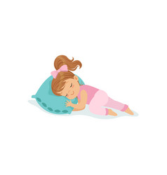 adorable little girl sleeping on her bed cartoon vector image